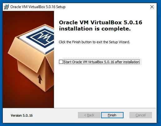 VirtualBox Oracle VM VirtualBox 5.0.16 installation is complete