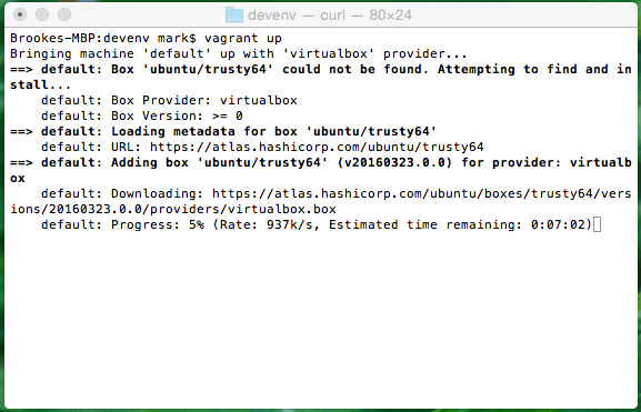 Mac OS X Vagrant Up Terminal Screenshot