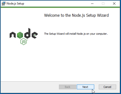 Welcome to Node.js setup wizard