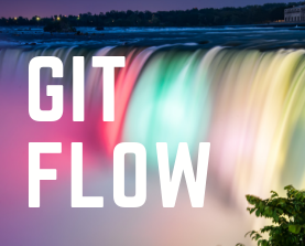 Words Gitflow over top of a rainbow waterfall