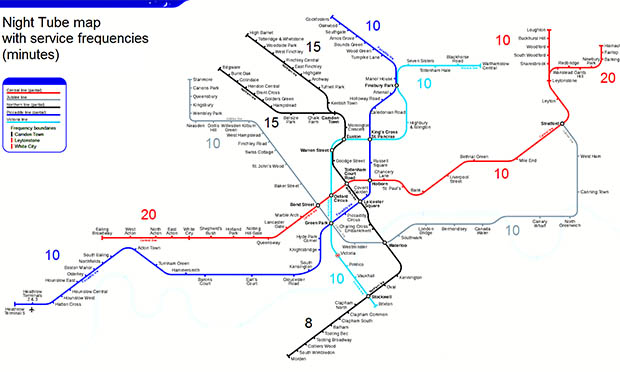 Map showing the current and future night tube network. Image: TransportJone (Creative Commons)