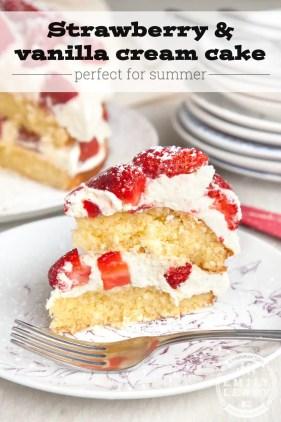 Strawberry and Cream Vanilla Cake