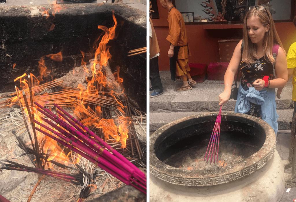 Qianling Park in Guiyang China - burning incense at Hongfu Temple