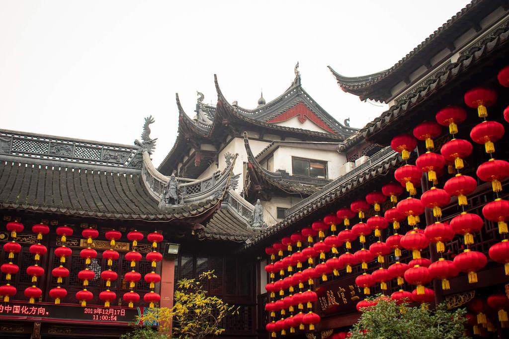 Old City God Temple Shanghai, many Chinese lanterns