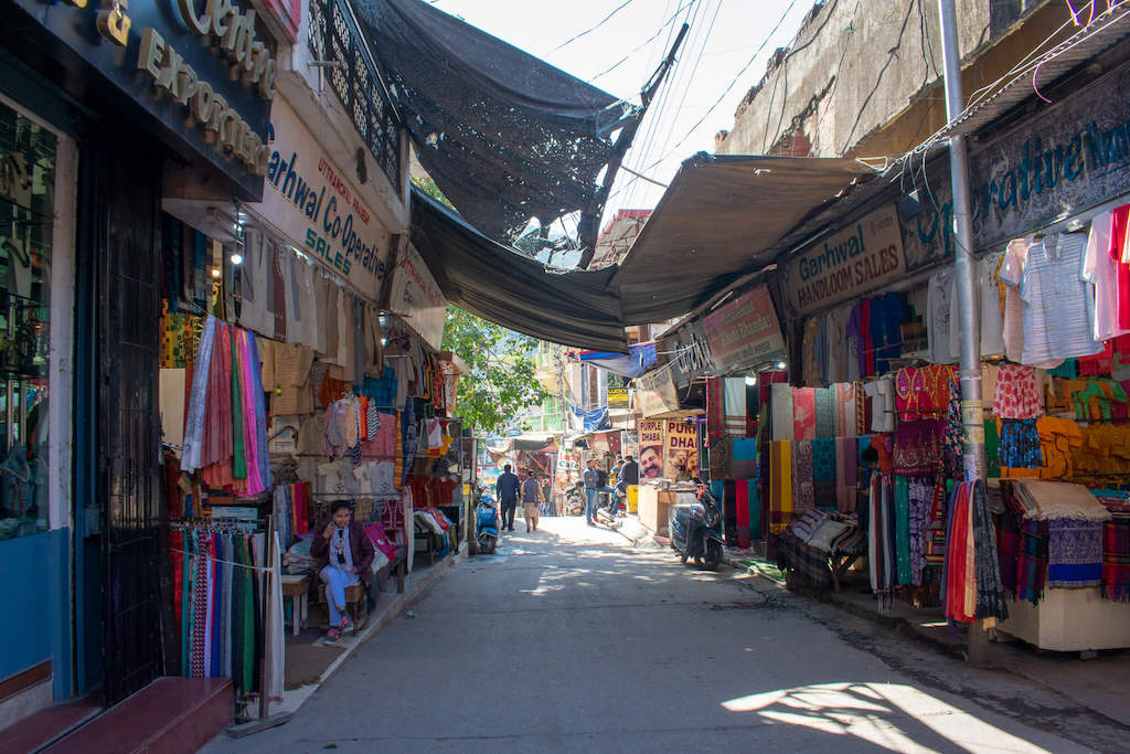 Colourful street full of shops in Rishikesh, Northern India