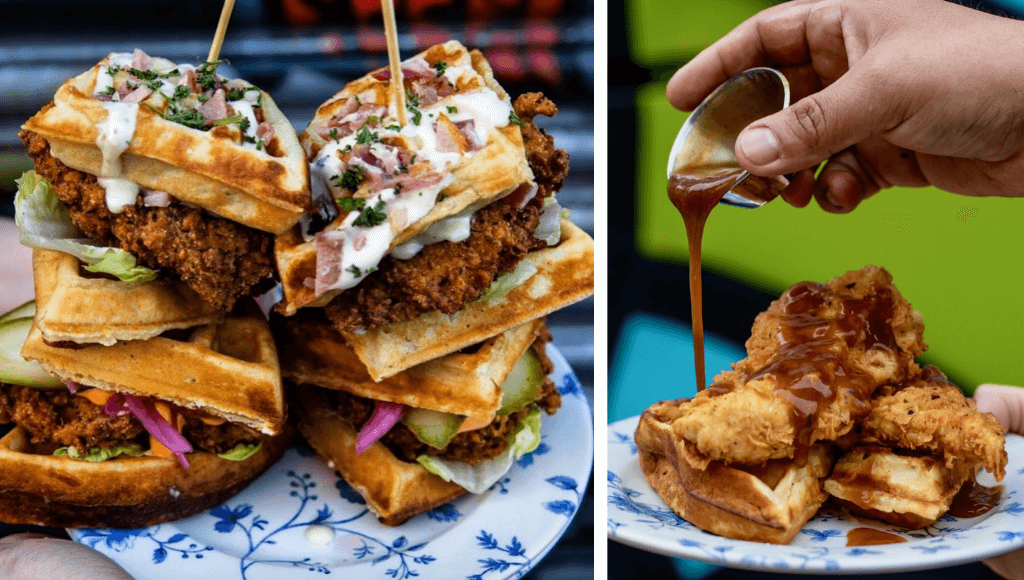 Chicken sliders & chicken and waffles with gravy in London