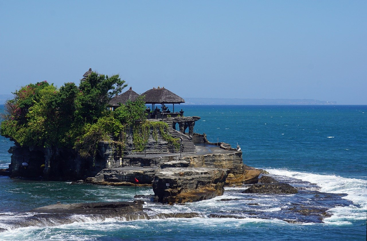 Tanah Lot temple out to sea in Canggu Bali