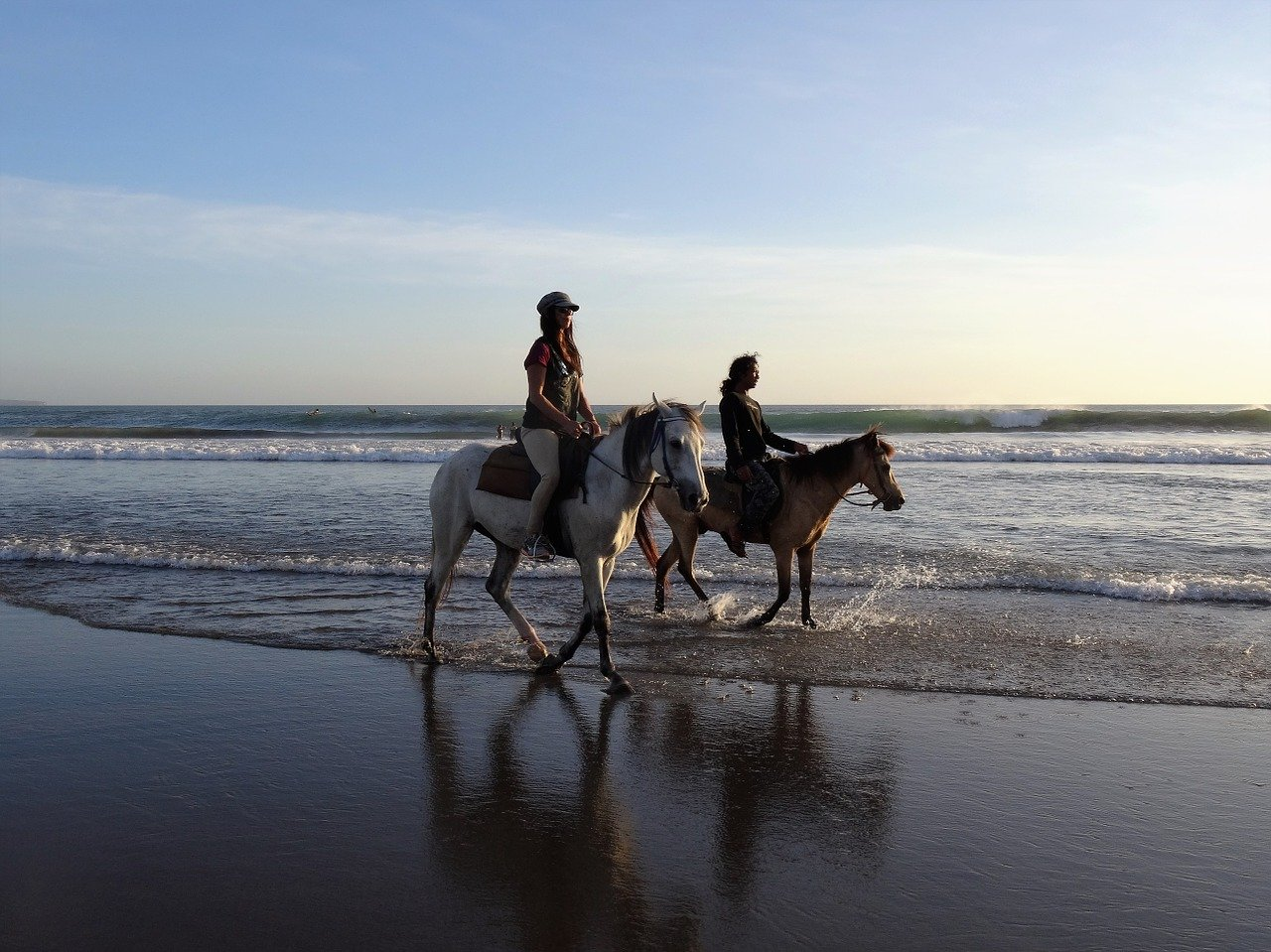 Horses walking on the beach in Bali Indonesia