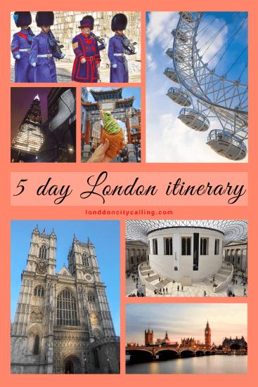 5 day London itinerary pin