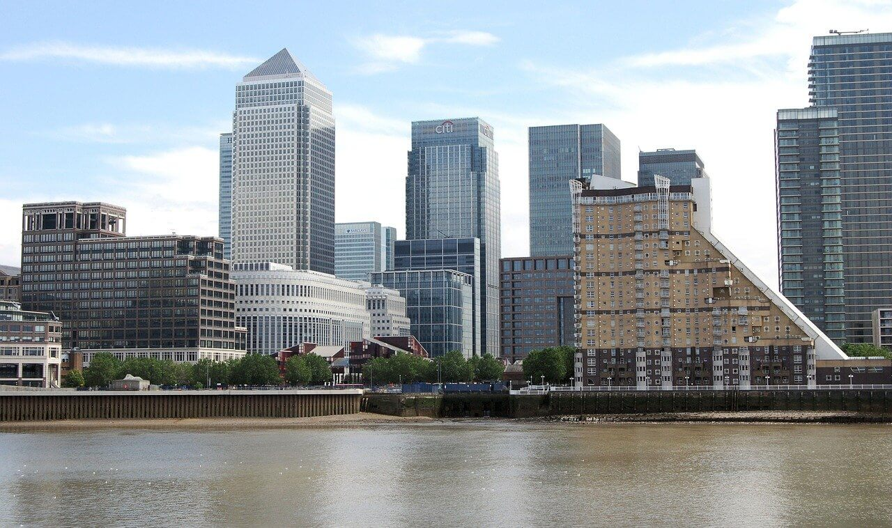 Many skyscrapers of Canary Wharf in London