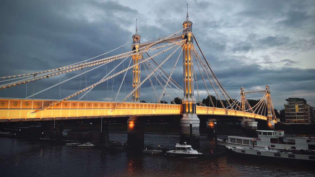 Albert Bridge London at night