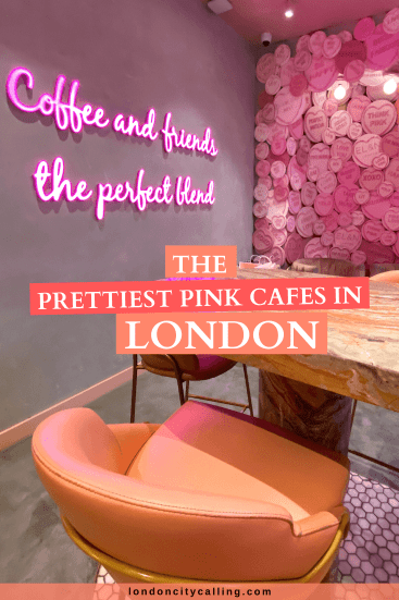 Pretty pink cafes in London pin