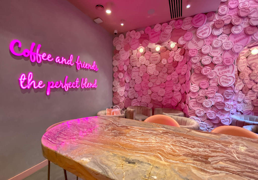 Pink cafes in London