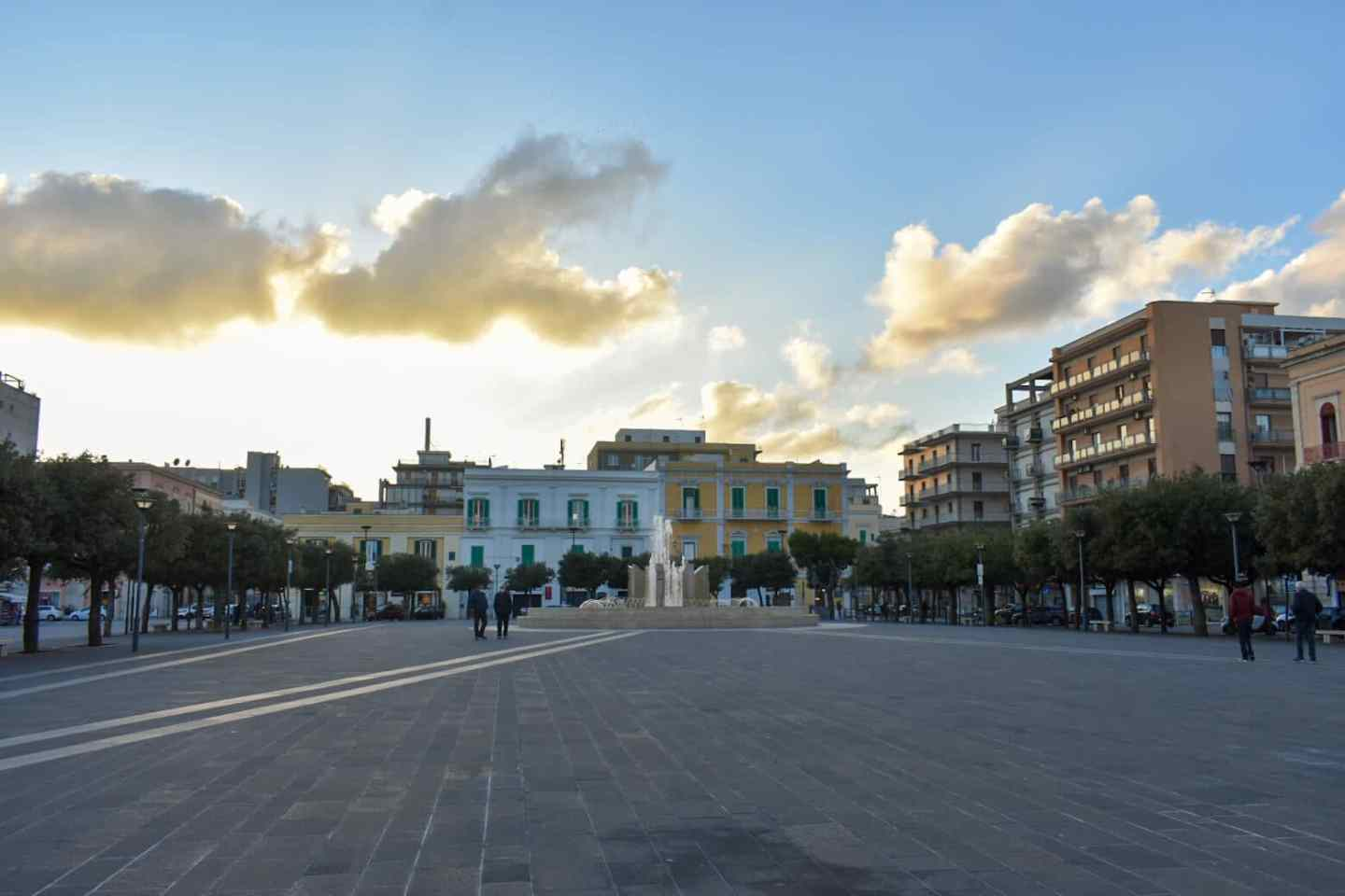 The main square of Monopoli Italy at sunset