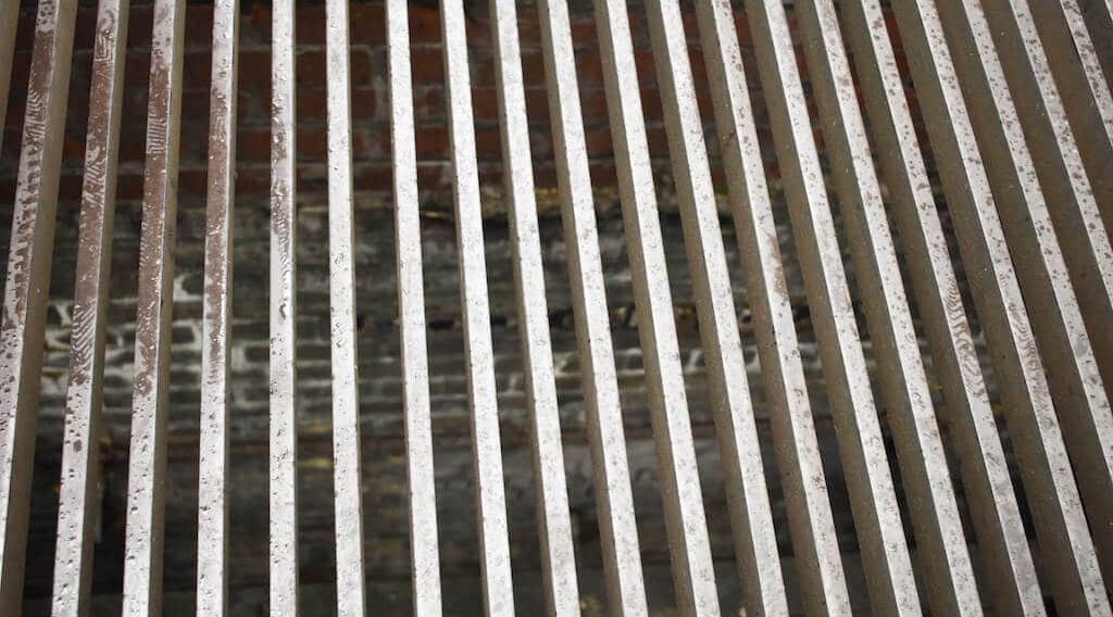 The grille looking down into Little Compton Street in Soho London