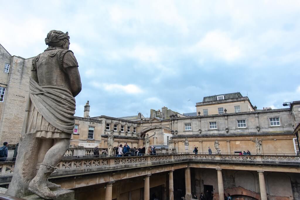 Roman baths in city of Bath, England