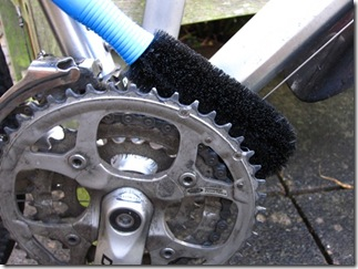 Use a brush to clean the front mech