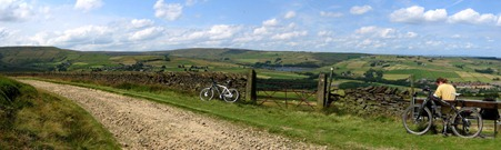 Cycling in the peak district. Stopping to take in the view