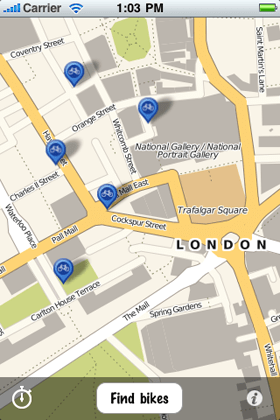 initial view inside the cycle hire app