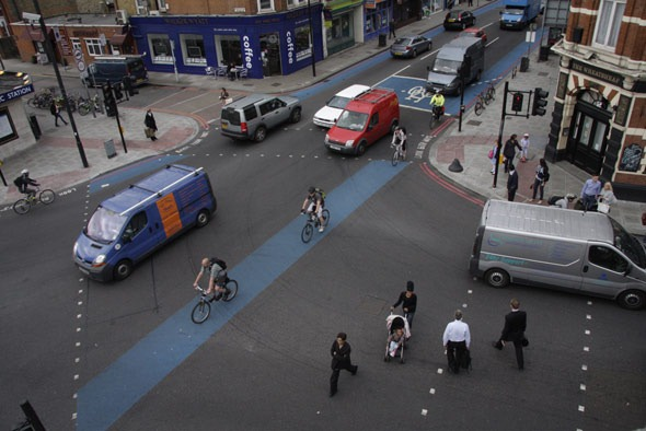 Aerial Shot of Tooting Bec junction of cycle superhighways