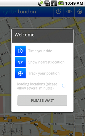 Cycle hire app for the Android splash screen