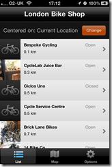 London Bike Shop iPhone app