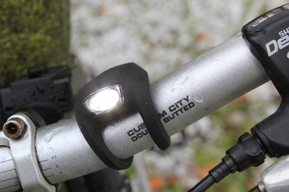 Knog Strobe 1LED bike light with the light on