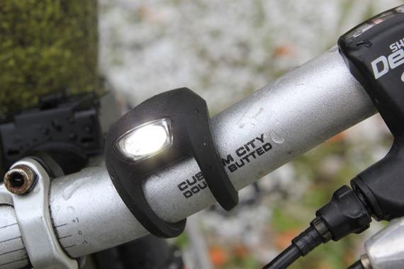 Knog Strobe 1LED bike light with the light on