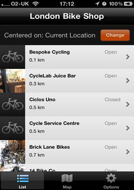 London Bike Shop App list screen