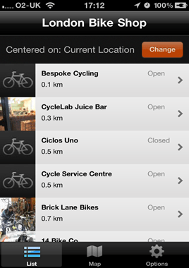 London Bike Shop App list screen