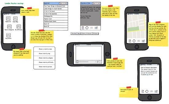 Initial mockup of London Cyclist new app