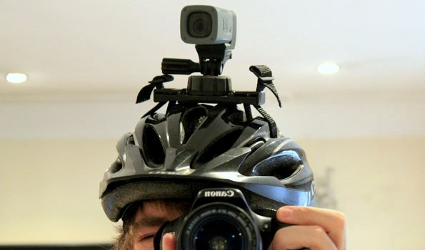 ATC Mini Helmet Camera mounted on the helmet