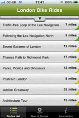The ride selection screen allows you to pick one of the London bike rides or use filters to narrow the results down