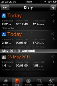 Diary view on the Sports Tracker application
