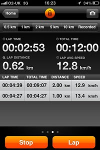 Sports track view 3 during workout showing lap times