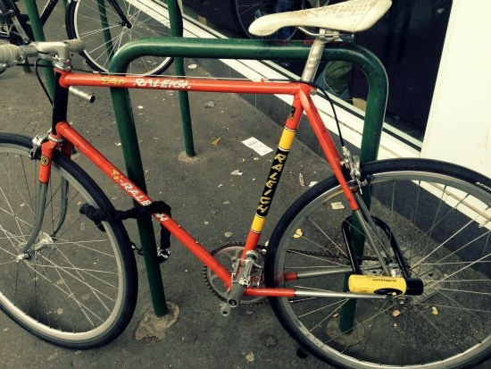 Lock through the front wheel and frame and lock through back wheel and frame