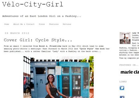 Screenshot of the Velo City Girl website