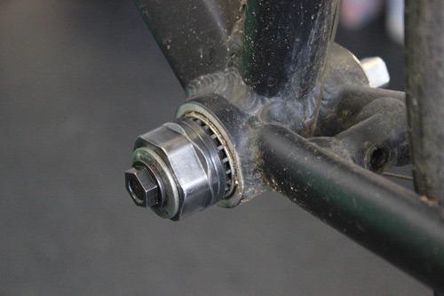 The bottom bracket tool installed