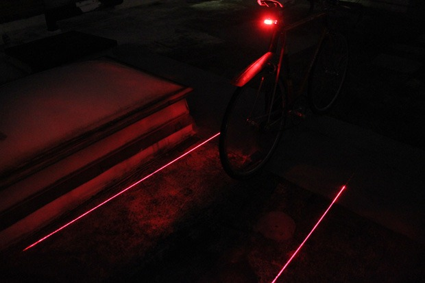 Laser lane bike light