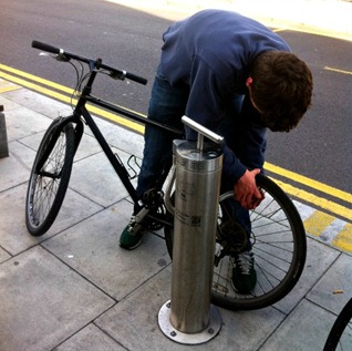 Public bike pump in London