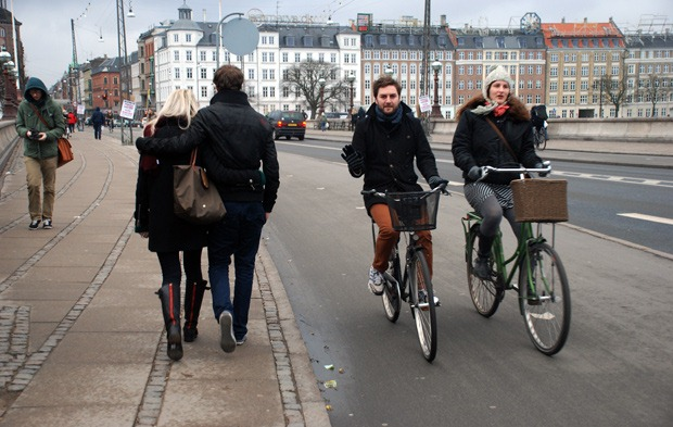 Cyclists side by side in Copenhagen