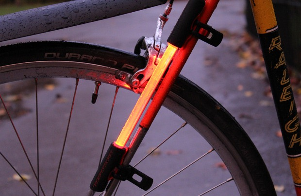 Side view of the fibre flare showing the attachment style to the bike
