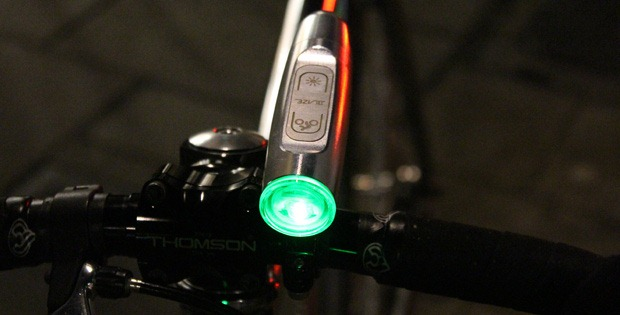Blaze bike light attached to handlebars