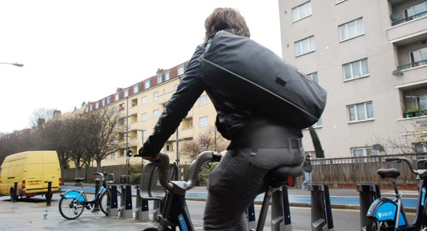 Andreas riding around London on a Boris Bike testing the Wingman