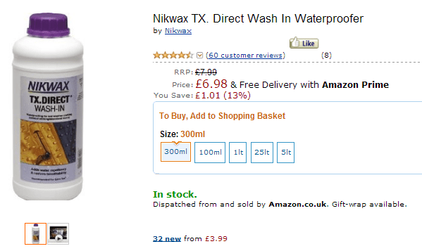 Nikwax TX direct wash in waterproofer