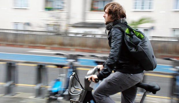 Me riding around with the wingman bag on my back