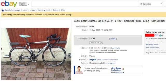 Stolen bike on eBay