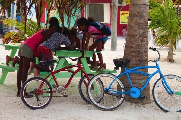 Kids near bikes