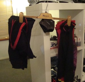 Arm and leg warmers on their hanger