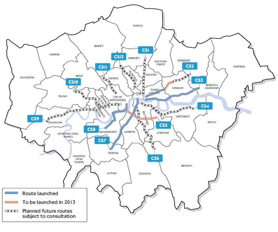 TfL's plan for the Cycle Superhighways, showing their preferred route for CS1